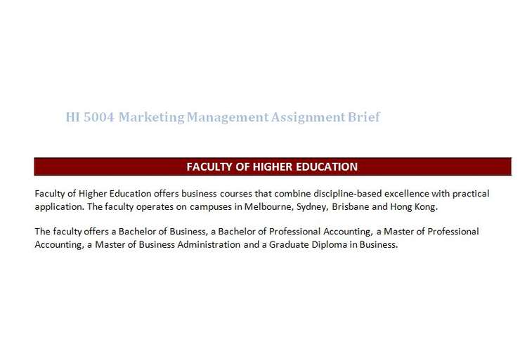 HI 5004 Marketing Management Assignment Brief