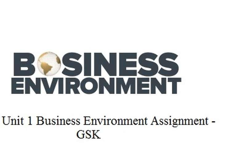 Unit 1 Business Environment Assignment - GSK