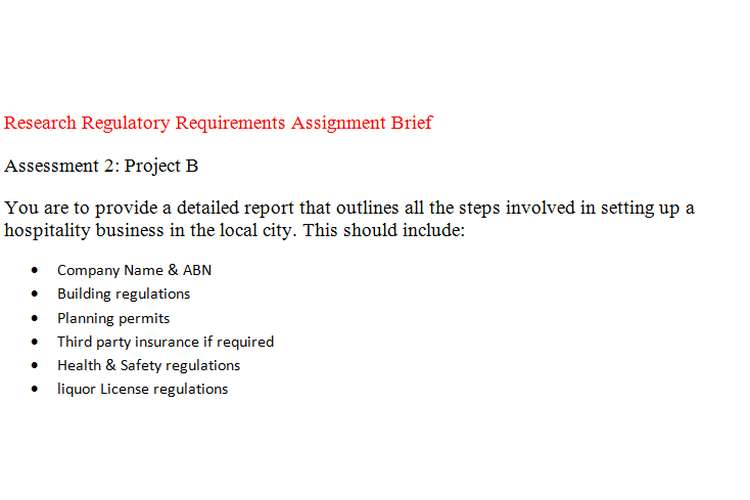 Research Regulatory Requirements Assignment Brief
