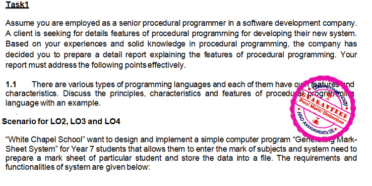 Unit 18 Procedural Programming Merit Copy