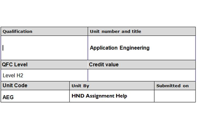 Application Engineering Assignment Brief