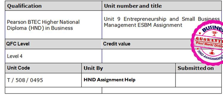 Unit 9 Entrepreneurship and Small Business Management ESBM Assignment