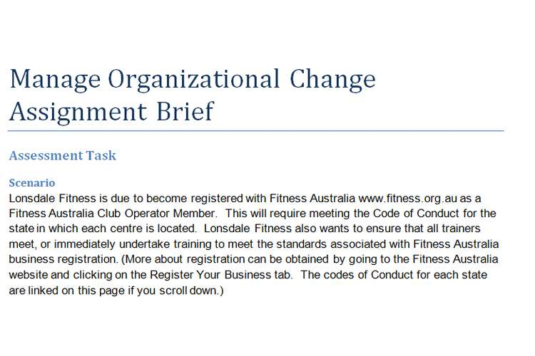 Manage Organizational Change Assignment Brief