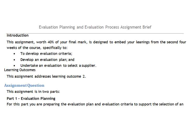 Evaluation Planning Evaluation Process Assignment Brief
