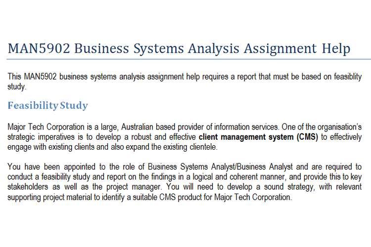 MAN5902 Business Systems Analysis Assignment Help