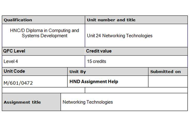 Unit 24 Networking Technologies Assignment Brief