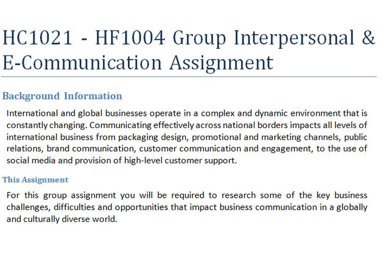 HC1021 - HF1004 Group Interpersonal & E-Communication Assignment
