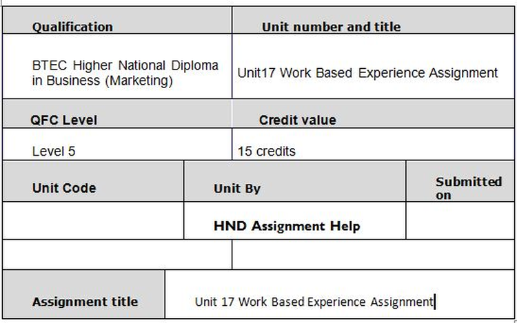 Unit 17 Work Based Experience Assignment
