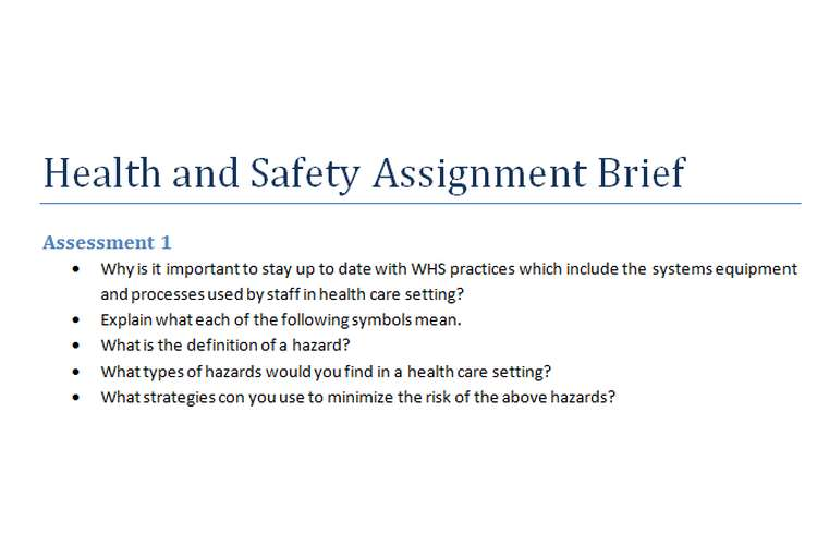 Health and Safety Assignment Brief
