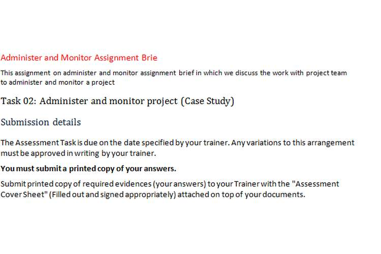 Administer Monitor Assignment Brief