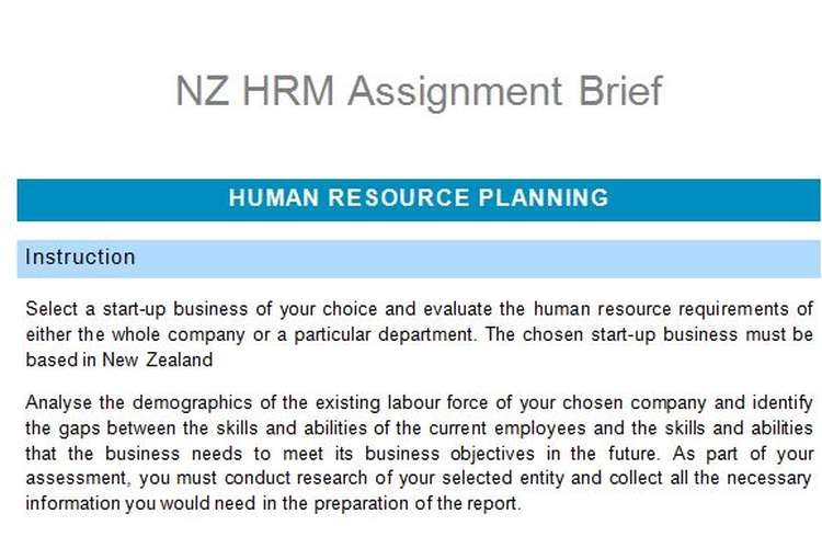 NZ HRM Assignment Brief