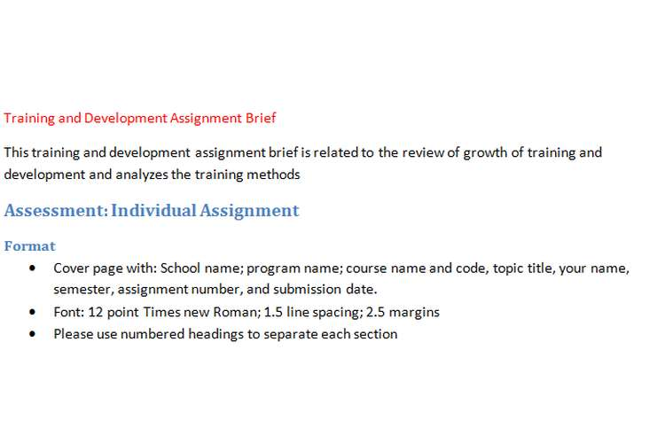 Training and Development Assignment Brief