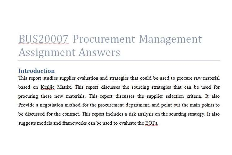 BUS20007 Procurement Management Assignment Answers