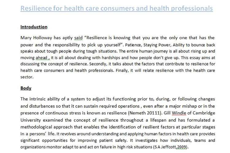 Resilience Health Care Consumers Health Professionals Solution