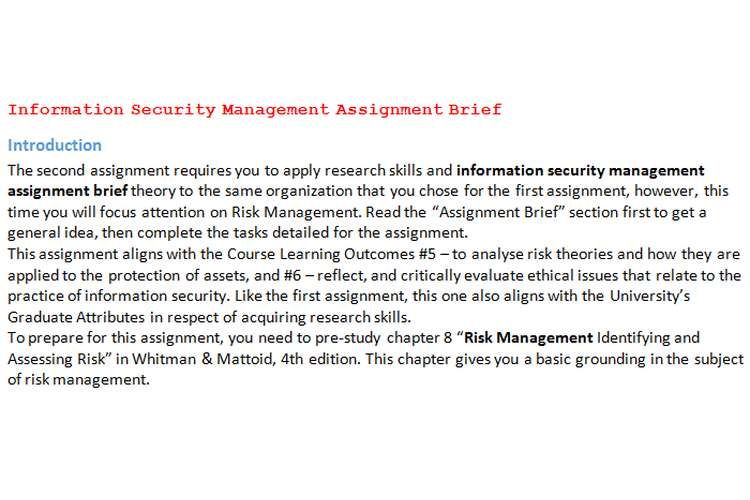 Information Security Management Assignment Brief