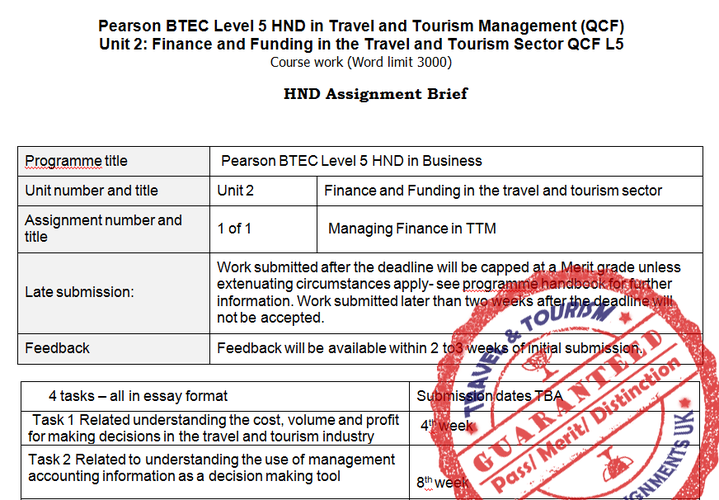Unit 2 Finance and Funding in Travel Tourism Assignment Brief
