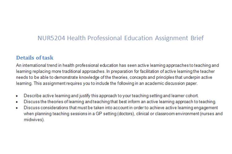 NUR5204 Health Professional Education Assignment Brief