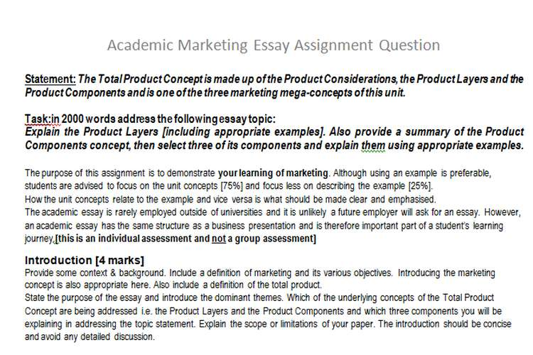 Academic Marketing Essay Assignment Question