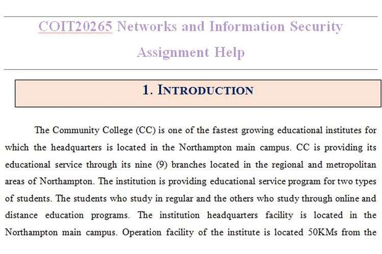 COIT20265 Networks Information Security Assignment Help