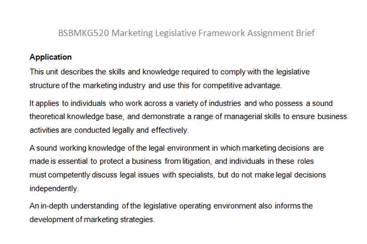 Marketing Legislative Framework Assignment Brief