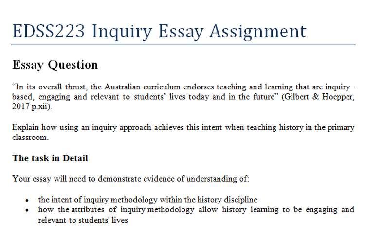 EDSS223 Inquiry Essay Assignment