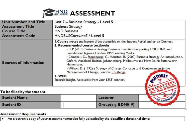 Unit 7 Business Strategy Assignment Brief