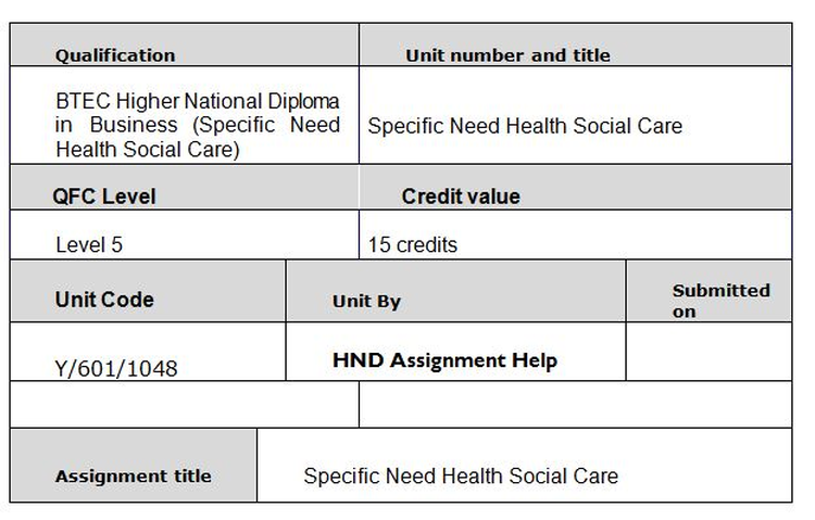 Unit 16 Specific Need in Health and Social Care Assignment