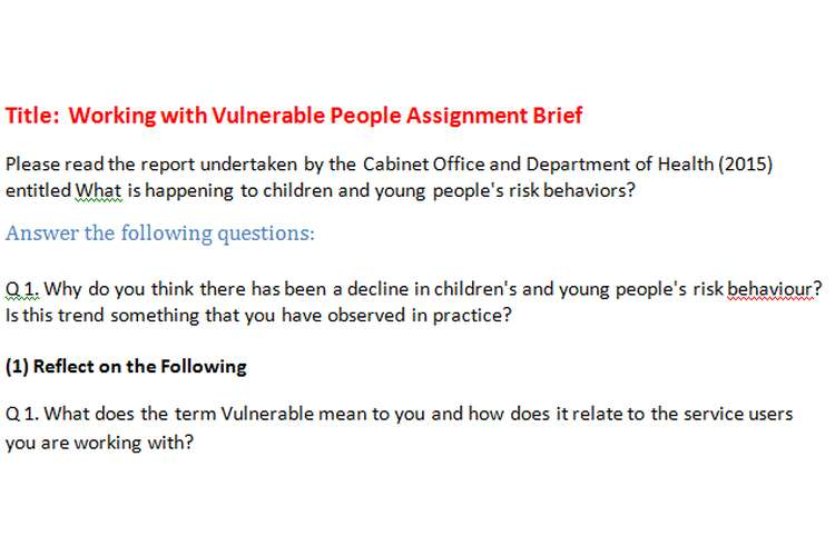 Working with Vulnerable People Assignment Brief