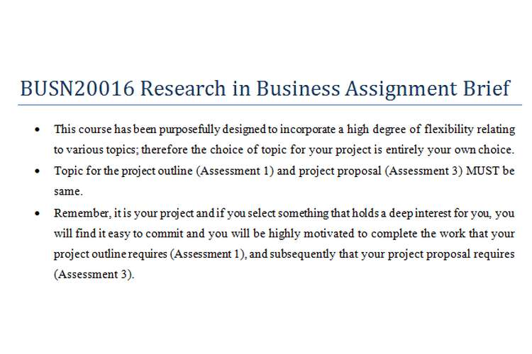 BUSN20016 Research in Business Assignment Brief