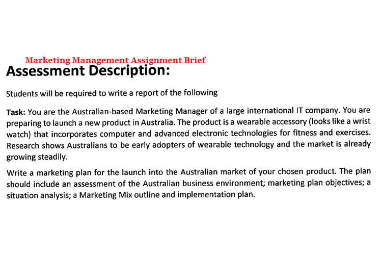 Marketing Management Assignment Brief