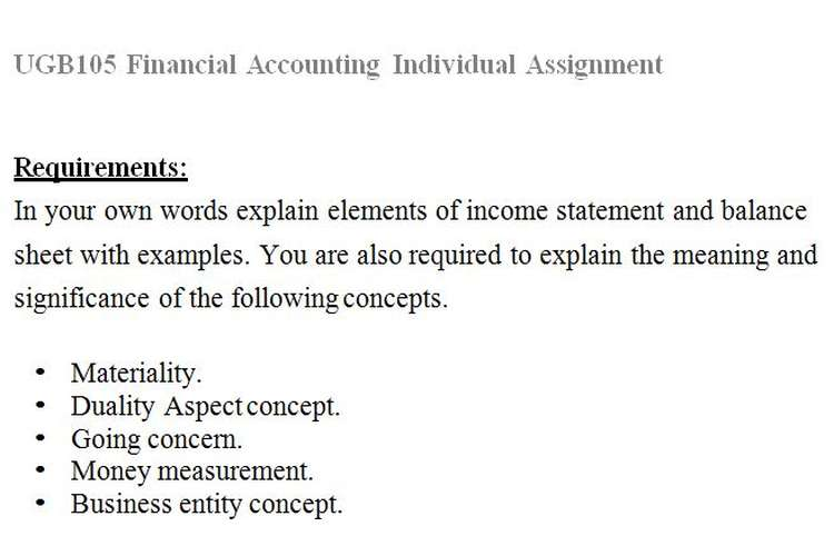 UGB105 Financial Accounting Individual Assignment