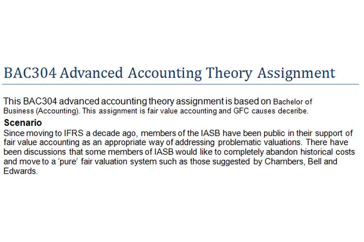 BAC304 Advanced Accounting Theory Assignment