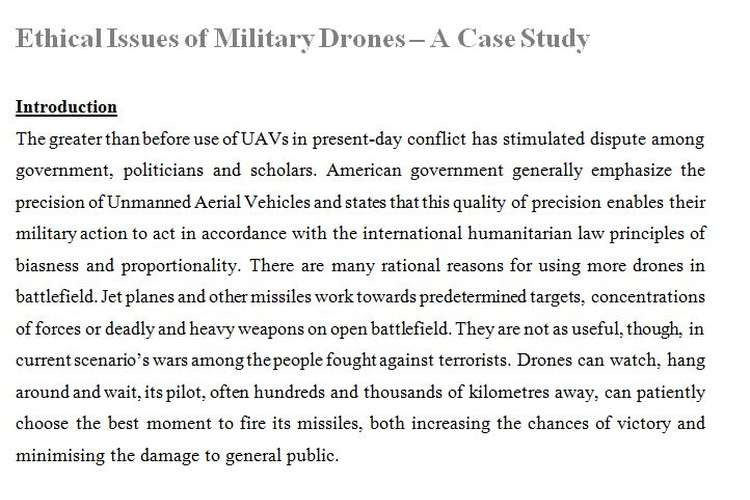 Ethical Issues Military Drones Case Study