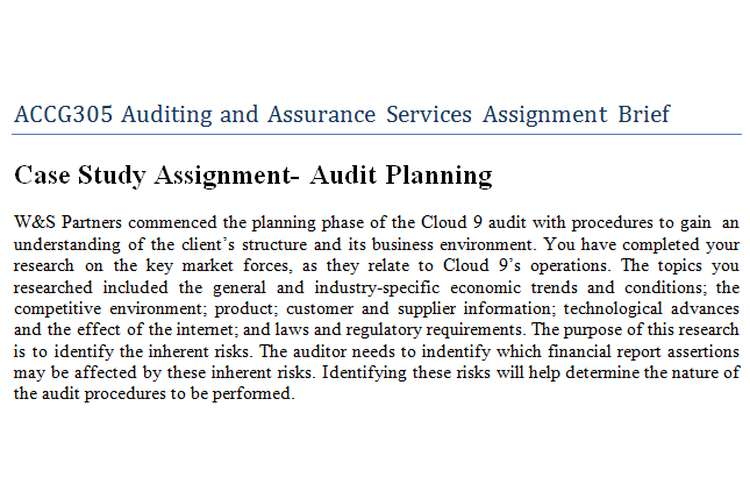 ACCG305 Auditing Assurance Services Assignment Brief