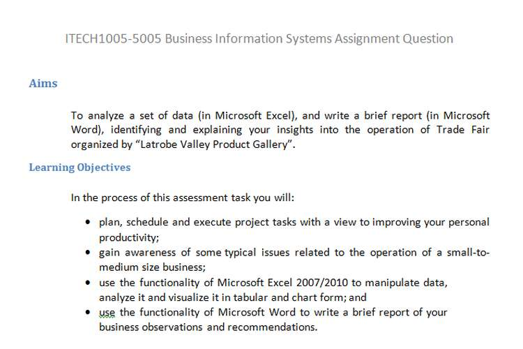 ITECH1005-5005 Business Information Systems Assignment Q