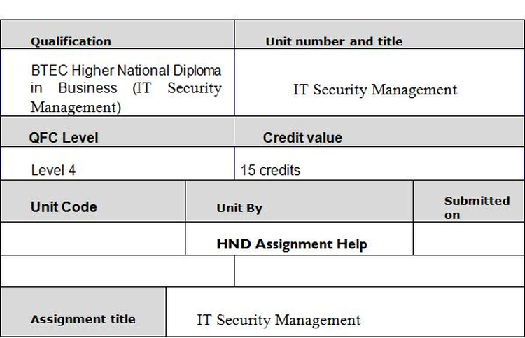 Unit 48 IT Security Management Assignment