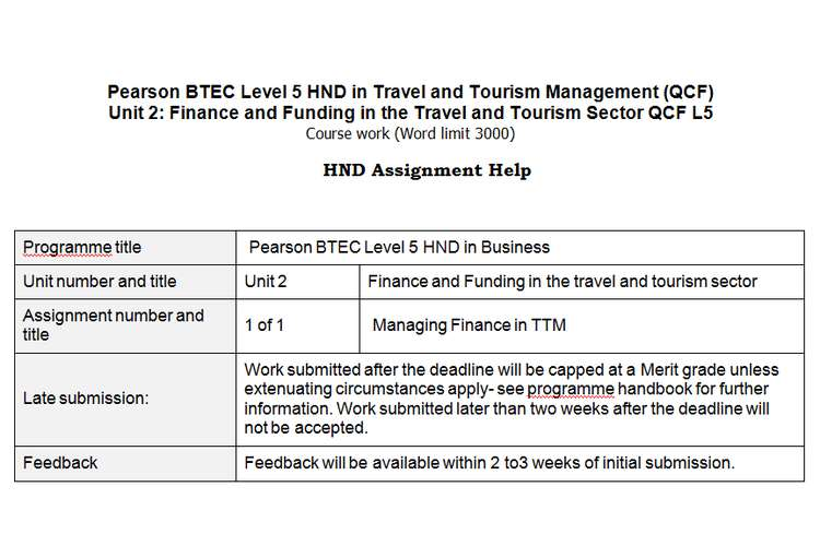Unit 2 Finance and Funding in Travel Tourism Sample Assignment