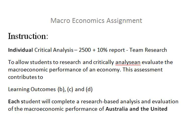 Macro Economics Assignment