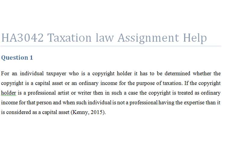 HA3042 Taxation law Assignment Help