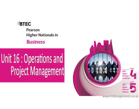 Unit 16Operations and Project Management