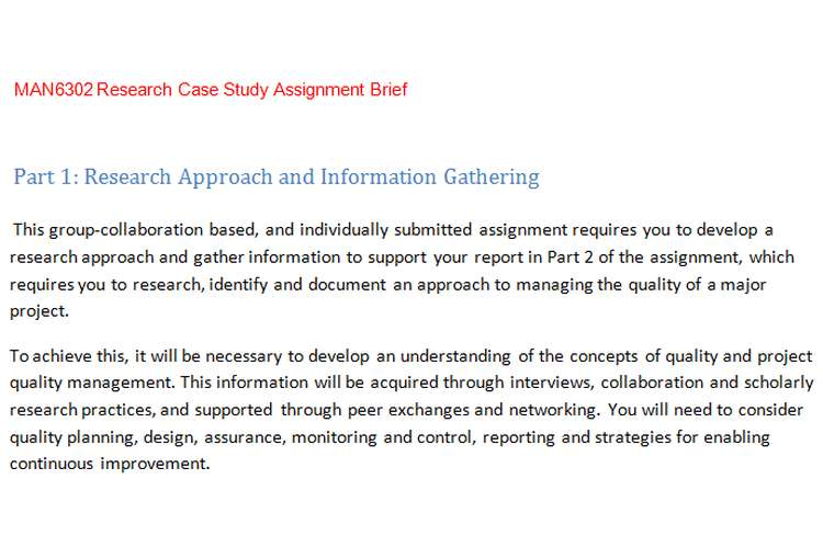 MAN6302 Research Case Study Assignment Brief