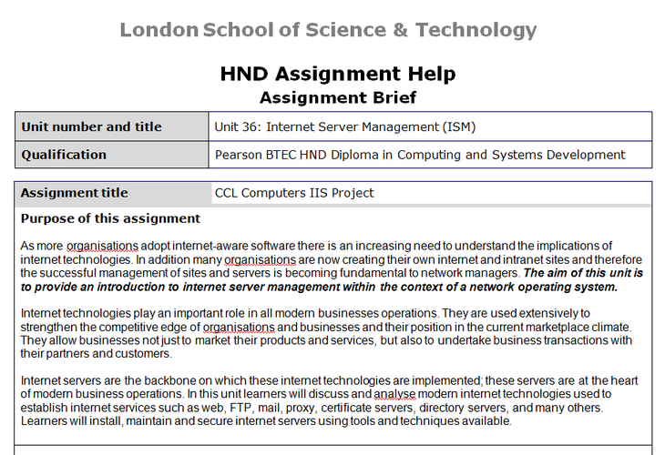 Unit 36 Internet Server Management Assignment Brief