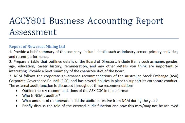 ACCY801 Business Accounting Report Assessment
