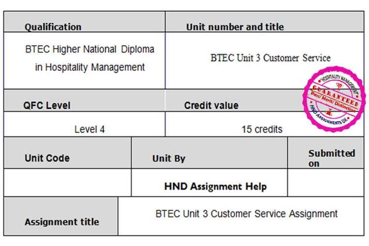 BTEC Unit 3 Customer Service Assignment