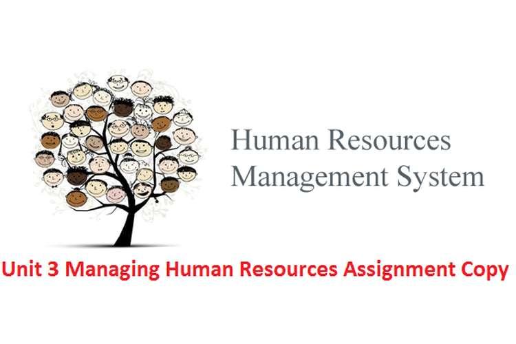 Unit 3 Managing Human Resources Assignment Copy