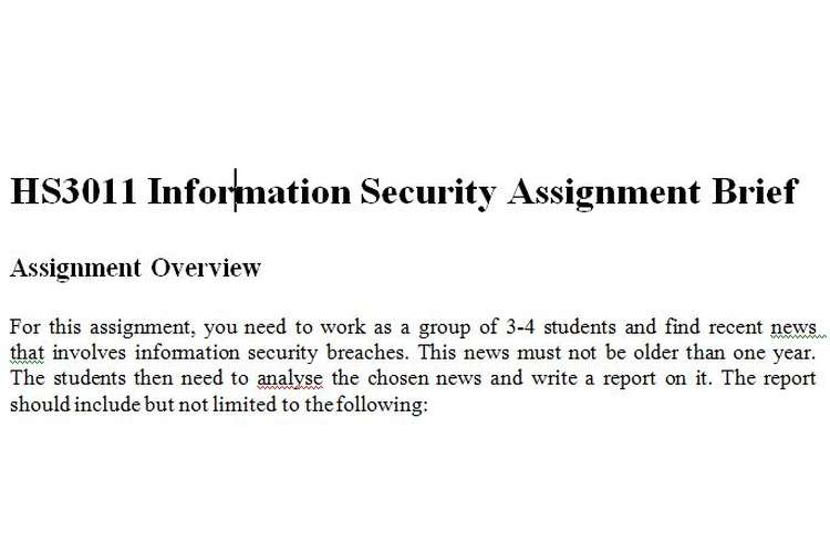 HS3011 Information Security Assignment Brief