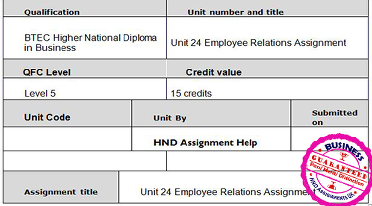Unit 24 Employee Relations Assignment