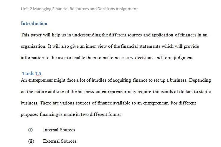 Unit 2 Managing Financial Resources and Decisions Sample Assignment