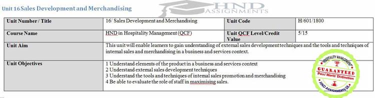 Unit 16 Sales Development and Merchandising Assignment Brief