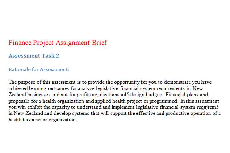 Finance Project Assignment Brief